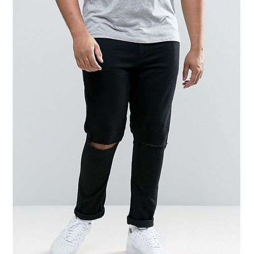 Asos plus super skinny jeans with knee rips - black