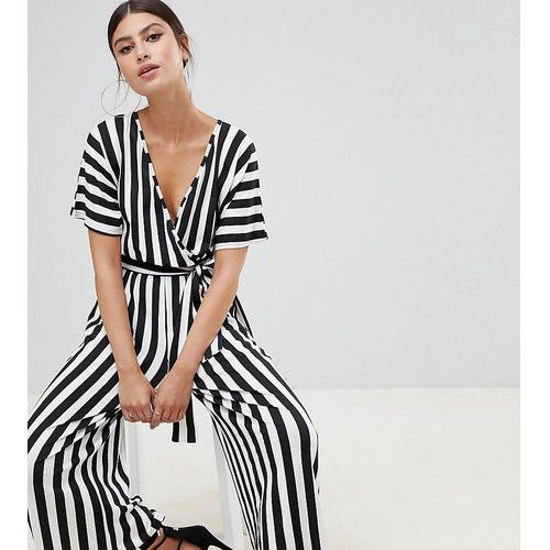 Boohoo exclusive basic culotte jumpsuit in black and white stripe - multi