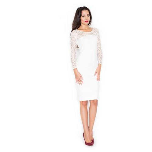 Katrus Ecru elegancka ołówkowa sukienka z koronkowym długim rękawem