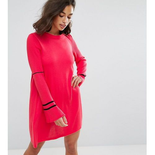 Asos petite  knitted dress with fluted sleeves and sports tipping - pink