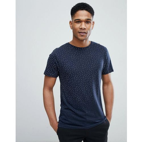 Bellfield T-Shirt In Triangle Print With Raw Edges - Navy, kolor szary