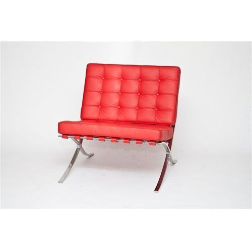 D2.design Fotel ba1 skóra naturalna czerwona