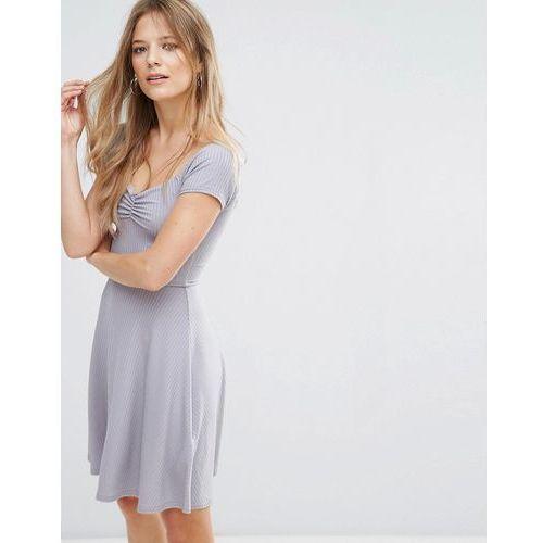 New Look Ribbed Skater Dress - Grey