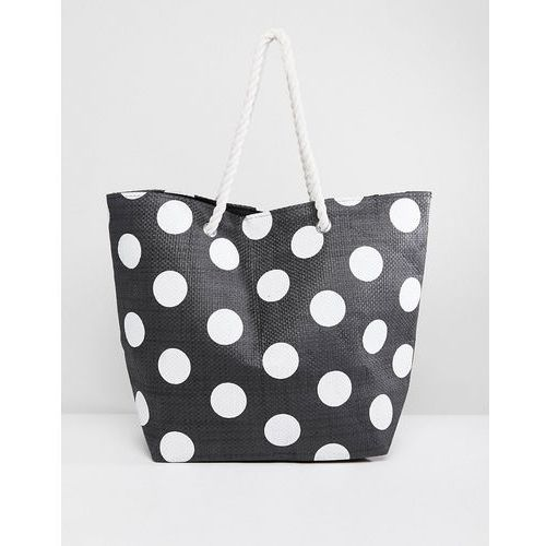 South Beach Dotted Tote Bag With Rope Handle - Black, kolor czarny