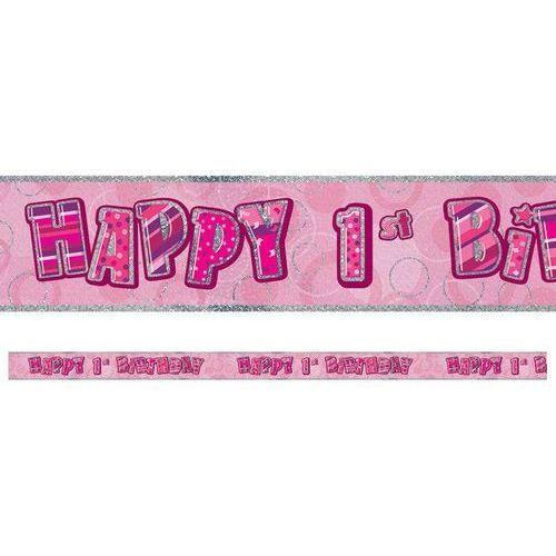 Baner Happy Birthday różowy na roczek - 360 cm - 1 szt.