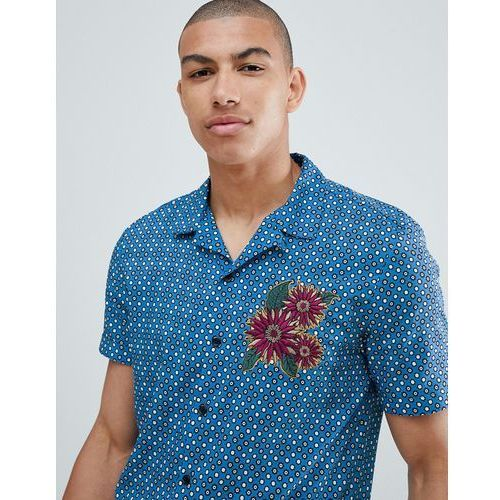regular fit shirt tile print with embroidery in blue - blue, River island, XXS-L
