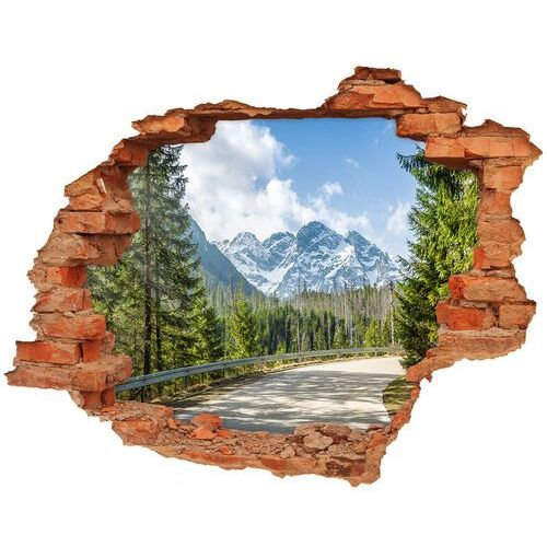 Dziura 3d w ścianie naklejka droga tatry marki Wallmuralia.pl