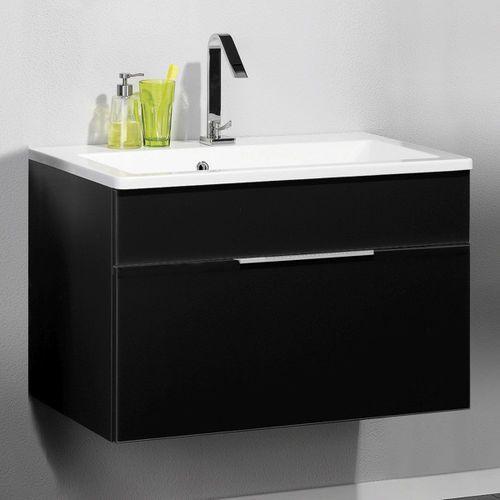 Szafka łazienkowa antracytowa z umywalką konglomeratową KARA 80 cm