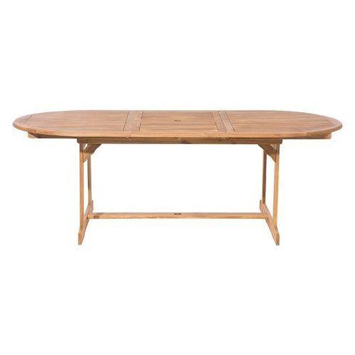 Stół ogrodowy drewniany jasnobrązowy 160/220 x 100 cm rozkładany MAUI