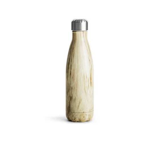 Sagaform - to go - butelka termiczna 0,50 l, drewniany wzór - brązowy