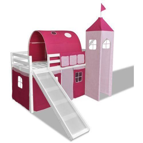 vidaXL Wysokie łóżko dziecięce ze zjeżdżalnią i drabinką, drewniane (8718475531388)