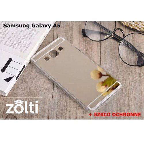 Zestaw   Slim Mirror Case Złoty + Szkło ochronne Perfect Glass   Etui dla Samsung Galaxy A5
