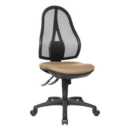 Obrotowe krzesło biurowe, bez poręczy, oparcie siatkowe czarne, obicie jasnobrąz marki Topstar