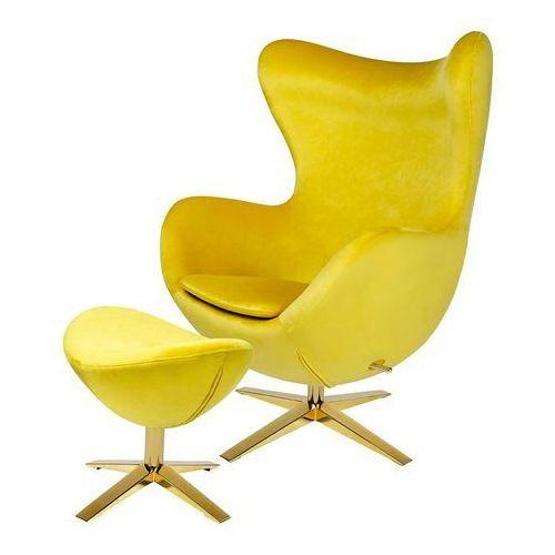 Fotel EGG SZEROKI VELVET GOLD z podnóżkiem HE-066.HM8+OTTO.20G -King Home
