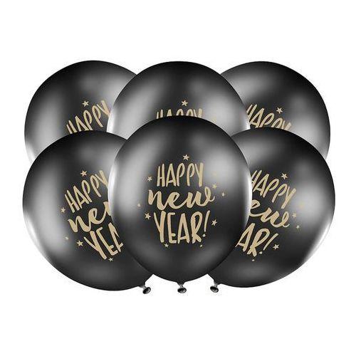 BALON HAPPY NEW YEAR CZARNY 30cm 1szt