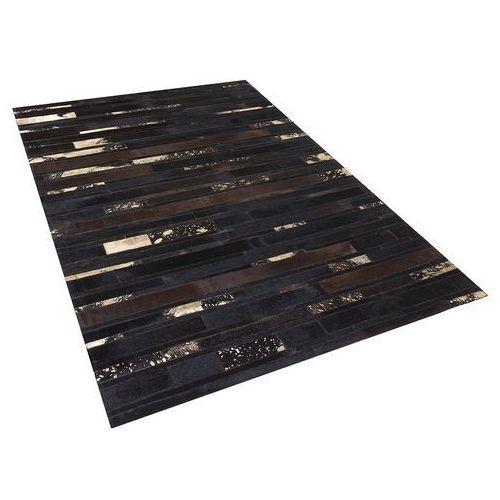 Dywan - brązowo - złoty - skóra - patchwork - 160x230 cm - ARTVIN (4260580925131)
