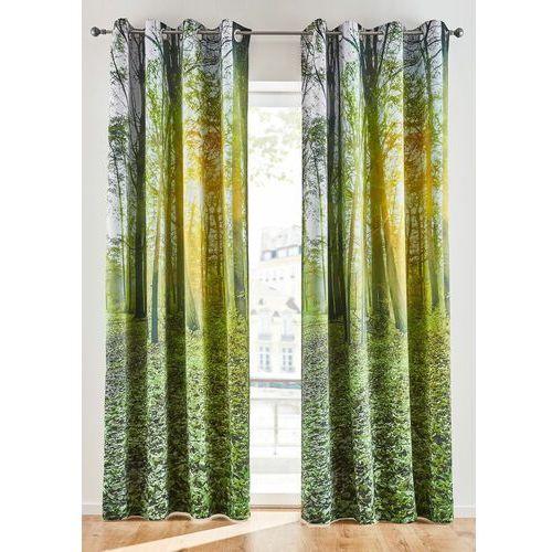 Zasłona zaciemniająca z motywem lasu (1 szt.) zielony leśny marki Bonprix
