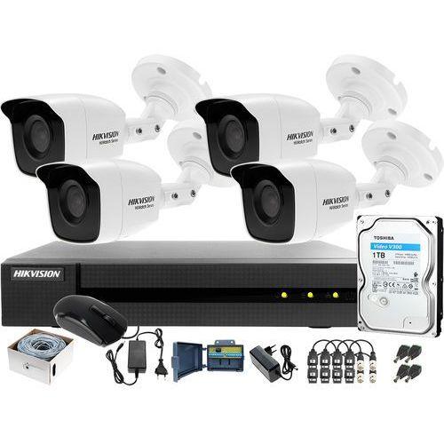 Hikvision hiwatch Zestaw po skrętce do monitoringu turbo hd, ahd, cvi hwd-6104mh-g2, 4 x hwt-b120-m, 1tb, akcesoria
