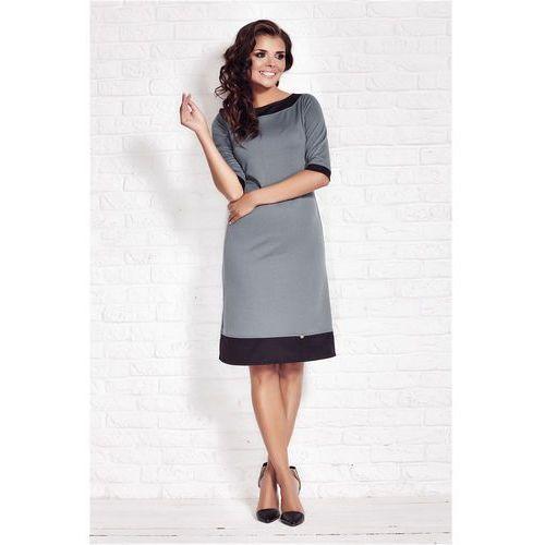 Szara Elegancka Sukienka z Kontrastowymi Wypustkami, kolor szary
