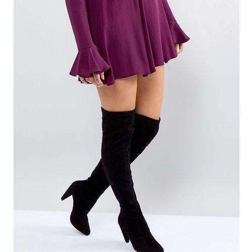 wide fit cone heel over the knee boot - black, New look