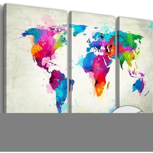 Artgeist Obraz na szkle akrylowym - mapa świata: eksplozja kolorów [glass] bogata chata