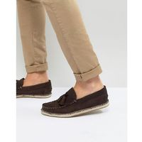 Frank wright tassel espadrilles in brown suede - brown