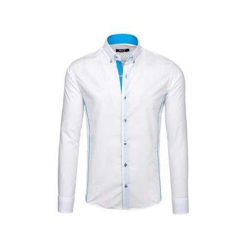 Koszula męska elegancka z długim rękawem biało-błękitna Bolf 5722-1, kolor biały
