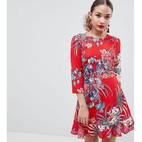 exclusive ruffle hem open back floral dress - multi, Boohoo