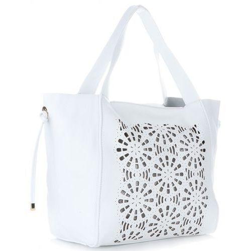 Oryginalne ażurowe torby skórzane firmy białe (kolory) marki Genuine leather