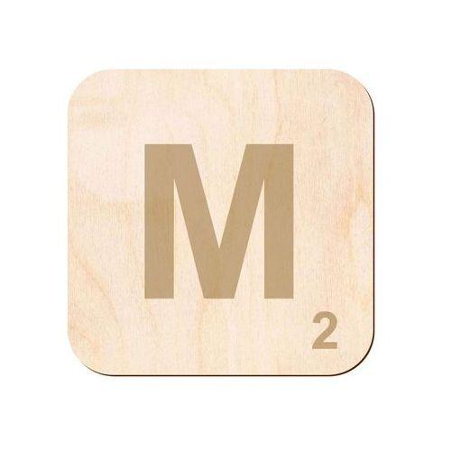 Drewniana dekoracja na ścianę scrabble - literka M