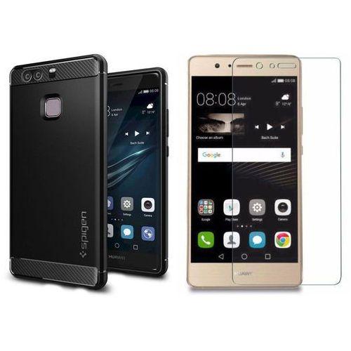 Zestaw | Spigen SGP Rugged Armor Black | Obudowa+ szkło ochronne Perfect Glass dedykowana dla modelu Huawei P9