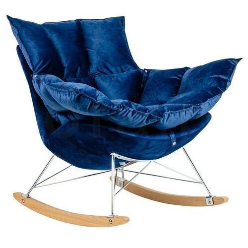 Fotel bujany swing velvet ciemny niebieski - welur, stal chromowana, drewno bukowa marki Sofa.pl