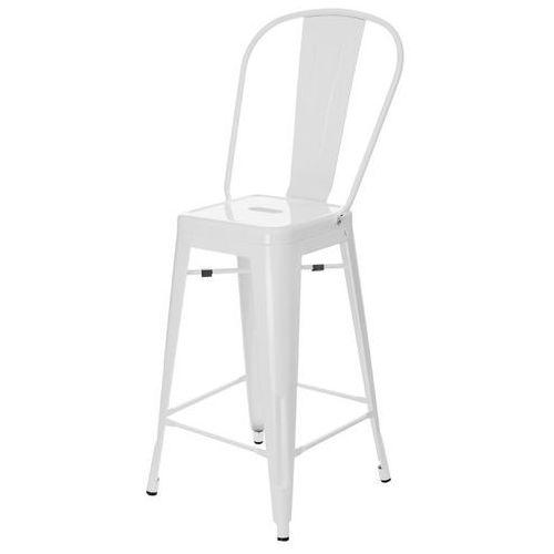 D2.design Stołek barowy paris back biały inspirowany tolix