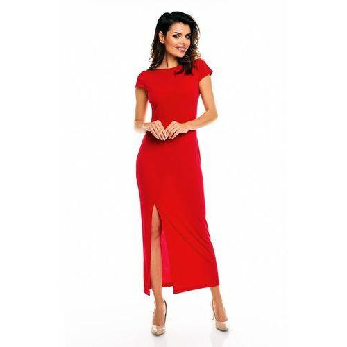 Czerwona Elegancka Maxi Sukienka z Wycięciem na Plecach