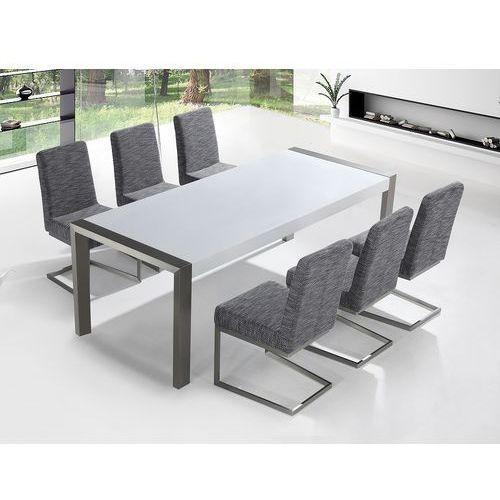 Beliani Zestaw mebli stal szlachetna - stół 220 - krzesła do wyboru - arctic i (7081455730837)