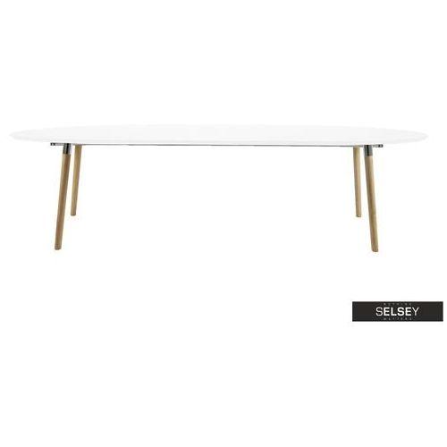 stół rozkładany vuka 170-270x100 cm biały z drewnianą podstawą marki Selsey