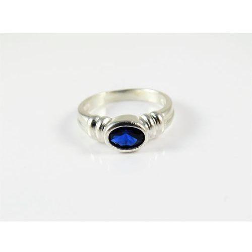 Srebrny pierścionek 925 NIEBIESKIE OCZKO r. 13