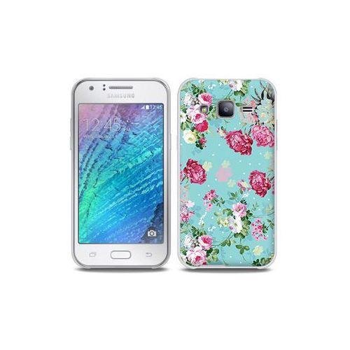 Samsung Galaxy J5 - etui na telefon Full Body Slim Fantastic - różyczki na miętowym tle, kolor różowy