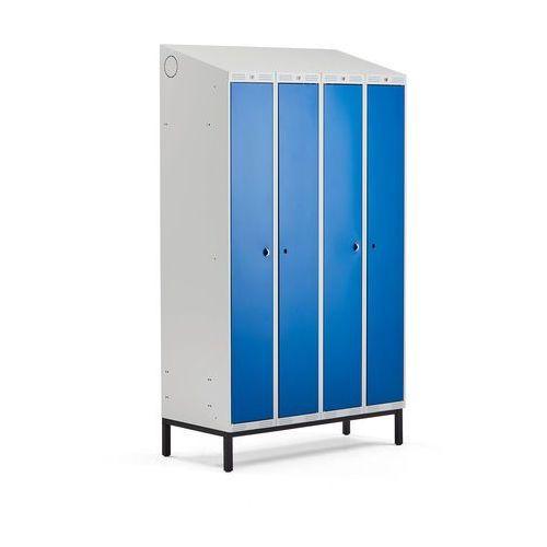 Szafa ubraniowa classic combo, na nóżkach, 4 drzwi, 2100x1200x550 mm, niebieski marki Aj produkty
