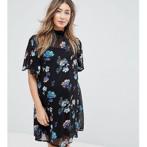 petite floral high neck mini dress - multi, Asos maternity