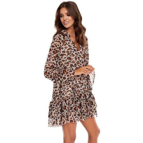 Sukienka Janell jasnoszara w panterkę, 1 rozmiar - OKAZJE