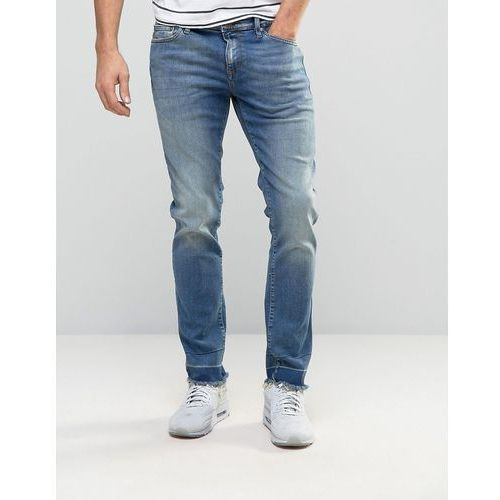 River Island Skinny Cigarette Jeans With Raw Hem In Blue Wash - Blue, jeansy