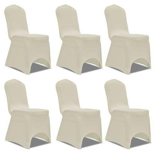 elastyczne pokrowce na krzesła, 6 szt., kremowe marki Vidaxl