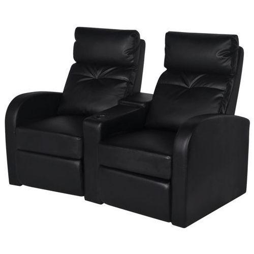 Vidaxl  fotele kinowe czarna eko skóra dla 2 osób z podłokietnikiem