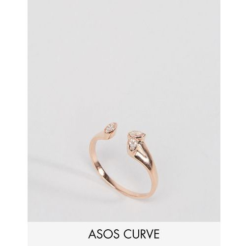 ASOS CURVE Rose Gold Plated Sterling Silver Open Stone Ring - Copper