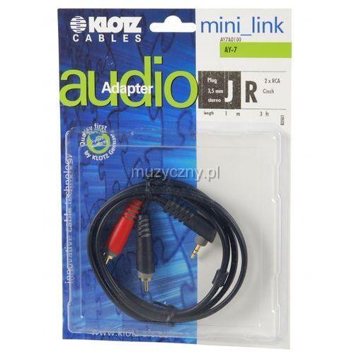 Klotz AY7 A0100 kabel mini TRS kątowy / 2xRCA 1m