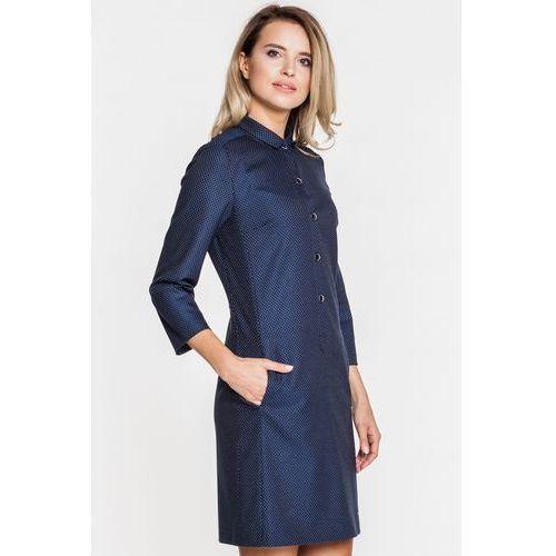 Wizytowa sukienka na guziki - Sobora, kolor niebieski