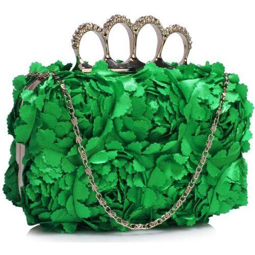 Awangardowa torebka wizytowa z zielonych kwiatowych płatków - zielony marki Wielka brytania