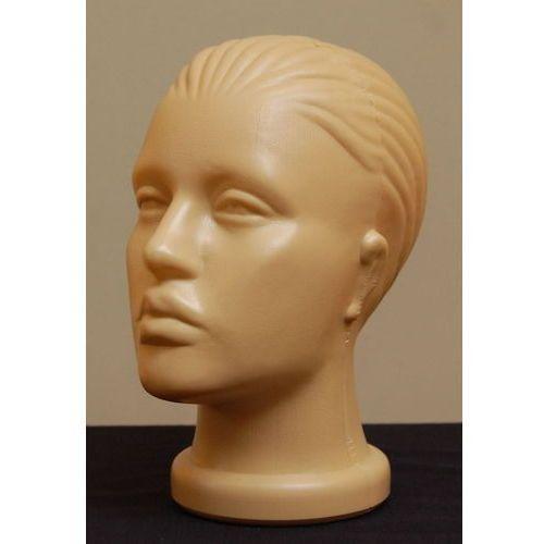 Głowa damska, plastikowa z włosami (czesana do tyłu) - w kolorze ciemnocielistym, 00288