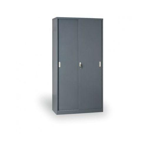 Metalowa szafa z przesuwnymi drzwiami, 1990x1000x450 mm, ciemnoszary marki B2b partner
